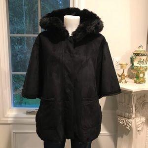 Ralph Lauren faux fur and suede cape jacket